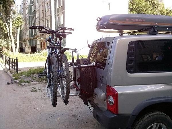 перевозка велосипеда на запасном колесе
