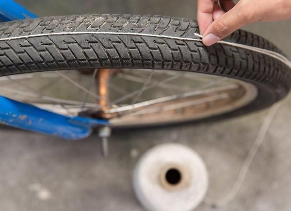 вычисление длины окружности колеса с помощью шнурка