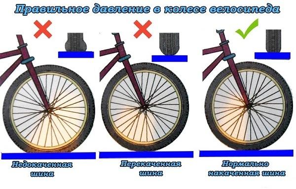 среднее значение давления в колесах велосипеда
